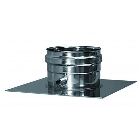 Genomföringsplåt med kondensavlopp, Ø150mm.