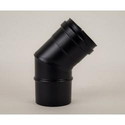 Rökrörsböj 45° i svart stål, Ø100mm.