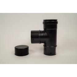 T-stycke med kondenslock 90°, svart, Ø80mm (hanuttag).