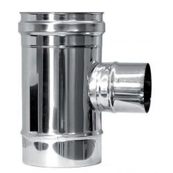 T-rör Ø150mm med sidoutlopp Ø80mm (valbart hona/hane).