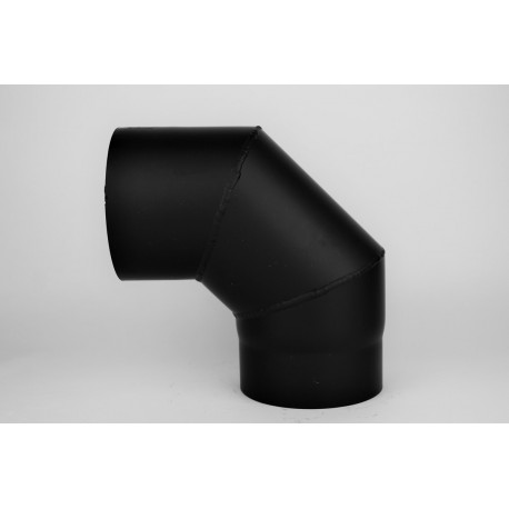 Kaminrörsböj i svart stål 90°, Ø150mm, 3 segment.