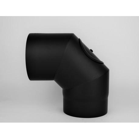 Rökrörsböj med inspektionslucka 90°, Ø120mm, 3-segment.