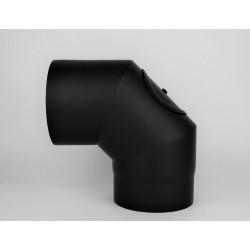 Kaminrörsböj i svart stål med inspektionslucka 90°, Ø150mm, 3 segment