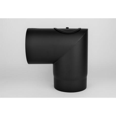 Kaminrörsböj 90° med inspektionslucka i 2mm tjockt svart stål, Ø150mm