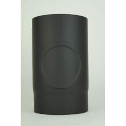 Rökrör med inspektionslucka i 2mm tjockt svart stål Ø130mm L: 250mm.