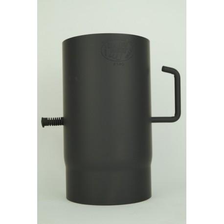 Kaminrör med spjäll i 2mm tjockt svart stål, Ø130mm.