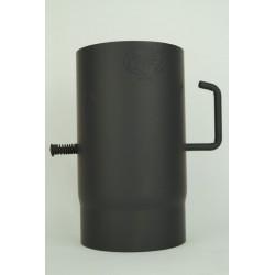 Rökrör 150 mm svart 2mm tjock. 600 grader.med spjäll