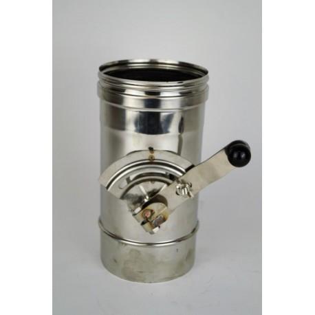 Rökrör/Kaminrör, L: 250mm med avstängningsventil Ø130mm.