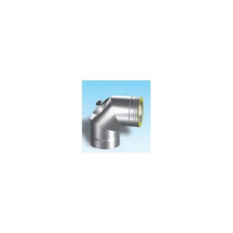 Dubbelwandig rookkanaal RVS, bocht 90° met inspectiedeksel, diameter Ø300/350