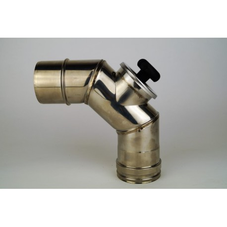 Enkelväggig rökrörsböj 90° med inspektionslock, Ø80mm