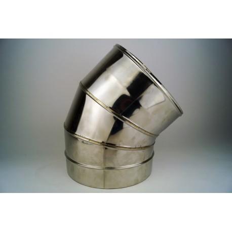 Rökrör 45° grader 3-segment, diameter Ø100-150