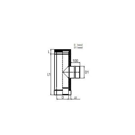 Dubbelväggig modulskorsten T-stycke 90° Ø140/190 Enkelväggigt sidoutlopp Ø120.