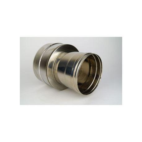 Dubbelväggig modulskorsten, anslutningsstycke dubbelväggigt - enkelväggigt, diameter Ø140/90 (Hona)
