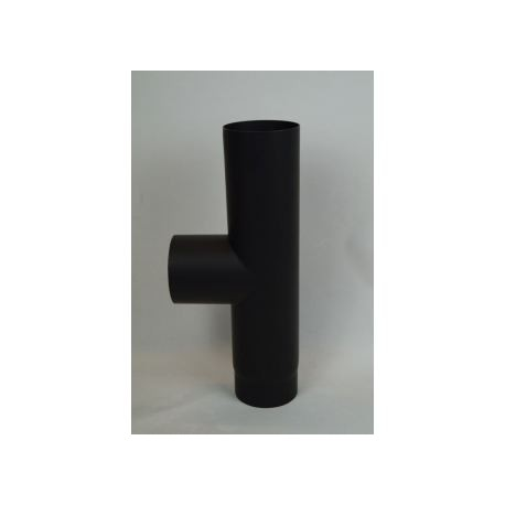 Kaminrör T-stycke i tjockväggigt svart stål 2mm, Ø150mm med kondenslock