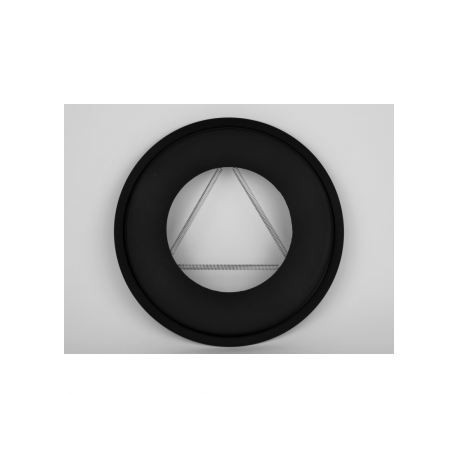 Rosett i tjockväggigt svart stål, Ø100mm, med dragfjädrar